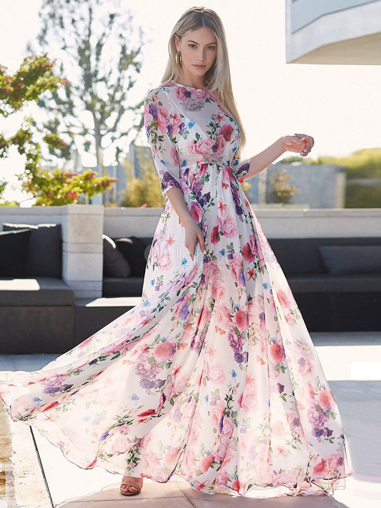 d0f63914da Floral Maxi Dress Half Sleeve Crewneck Semi Sheer Chiffon Summer Dress-No.1  ...