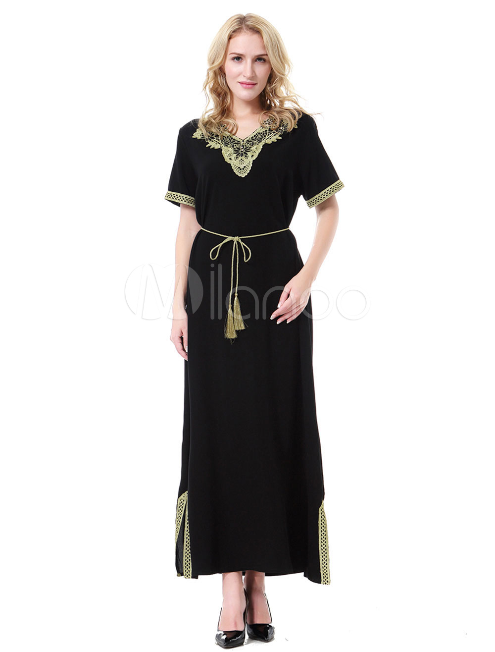 Buy Maxi Muslim Dress V Neck Short Ssleeve Applique Two Tone Abaya Dress for $26.99 in Milanoo store