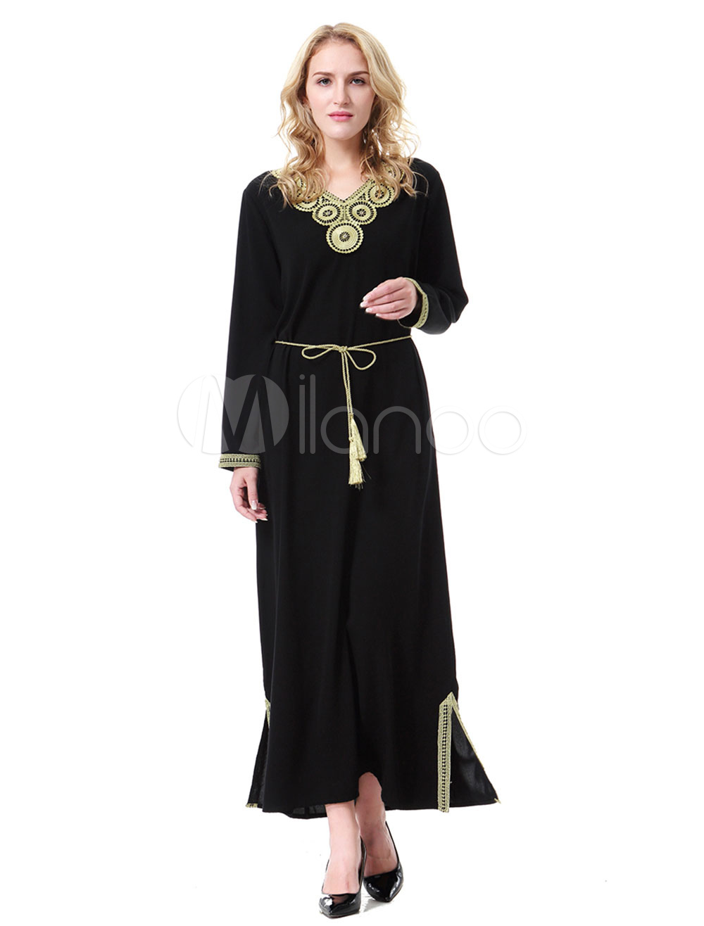 Buy Long Sleeve Abaya Dress V Neck Maxi Dress Applique Two Tone Muslim Dress for $26.99 in Milanoo store