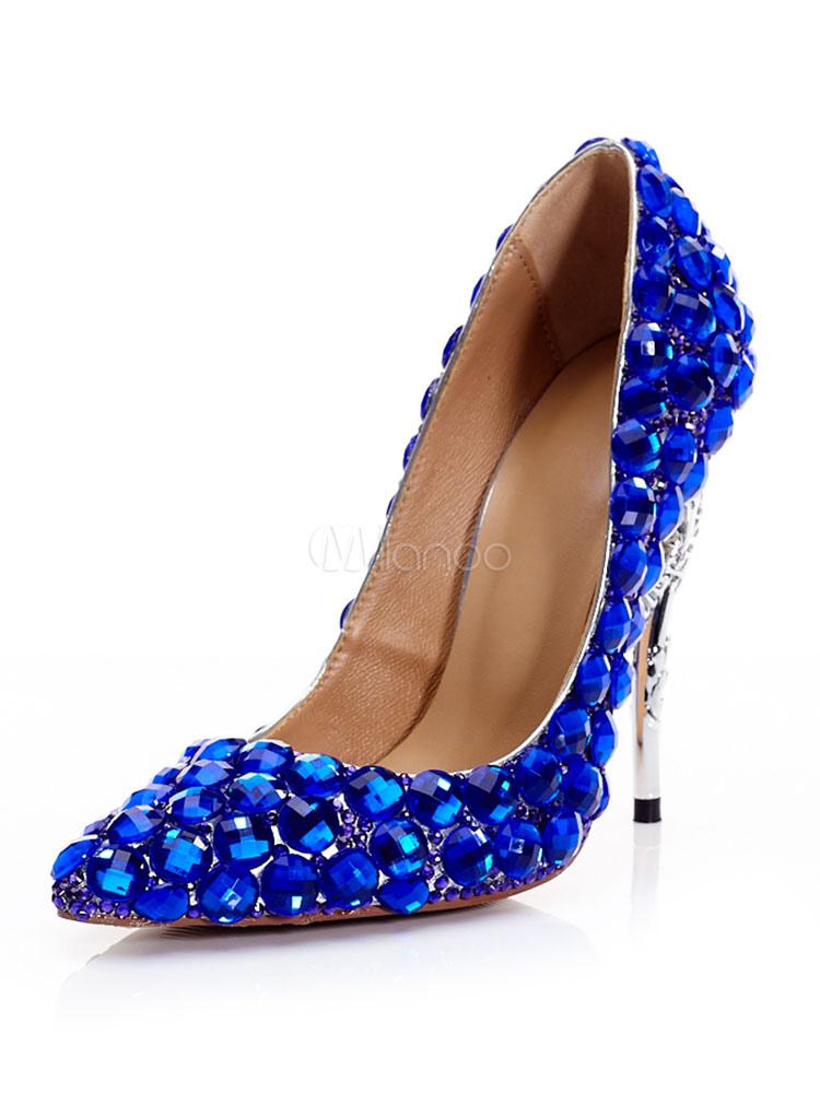 c06256a9f Mulheres De Salto Alto Azul Royal Dedo Apontado Strass Partido Sapatos  Criança Pele Sapatos De Noite ...