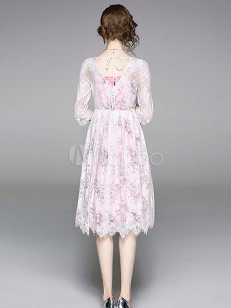 c6120ed5819e ... White Lace Dress Scoop Neck Summer Dress Three Quarter Sleeve Midi Dress -No.5