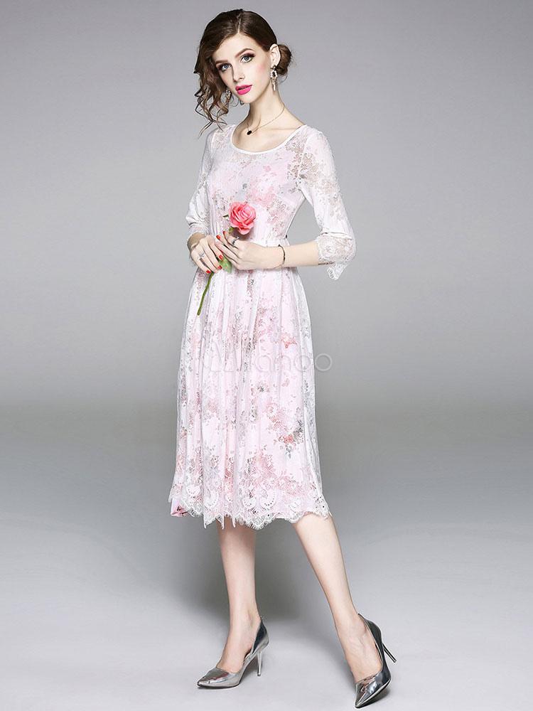 4a90f60297ce ... White Lace Dress Scoop Neck Summer Dress Three Quarter Sleeve Midi Dress-No.4  ...