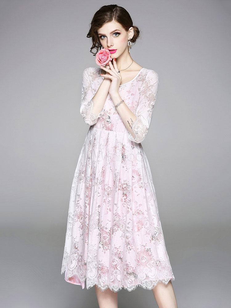 c04e80939a8d ... White Lace Dress Scoop Neck Summer Dress Three Quarter Sleeve Midi Dress -No.3 ...