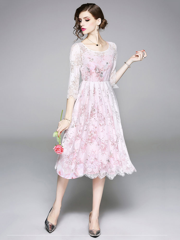 a4839c3bfc13 ... White Lace Dress Scoop Neck Summer Dress Three Quarter Sleeve Midi Dress-No.2  ...