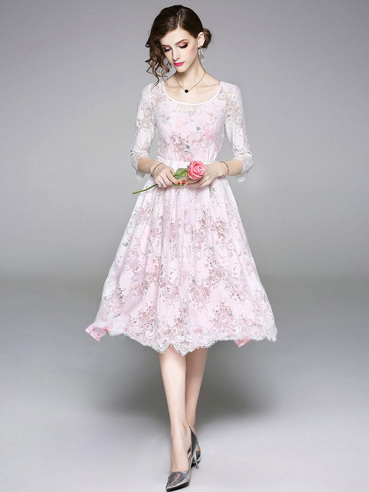 cd75a49865d0 White Lace Dress Scoop Neck Summer Dress Three Quarter Sleeve Midi Dress-No.1  ...