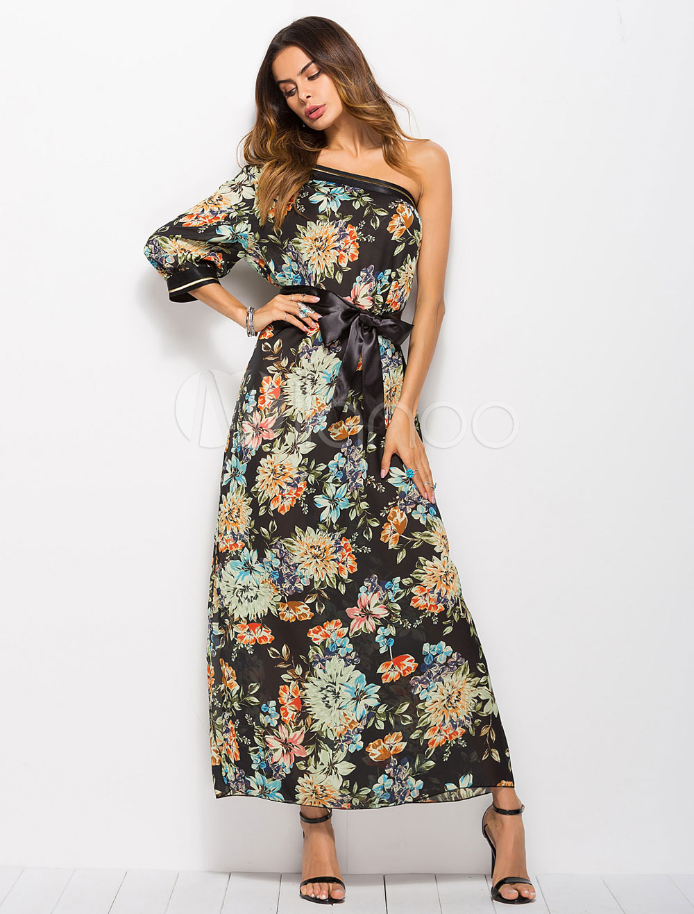 Buy Floral Maxi Dress One Shoulder Convertible Sash Split Summer Dress for $17.99 in Milanoo store
