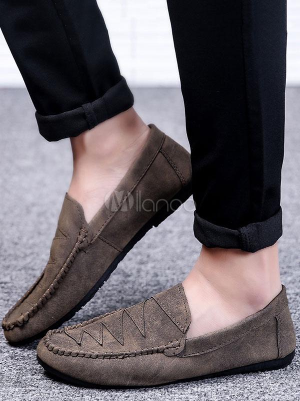 3d52a667b أحذية رجالية عادية من جلد الغزال جولة تو مطبوعة أحذية الانزلاق على  المتسكعون براون-No ...