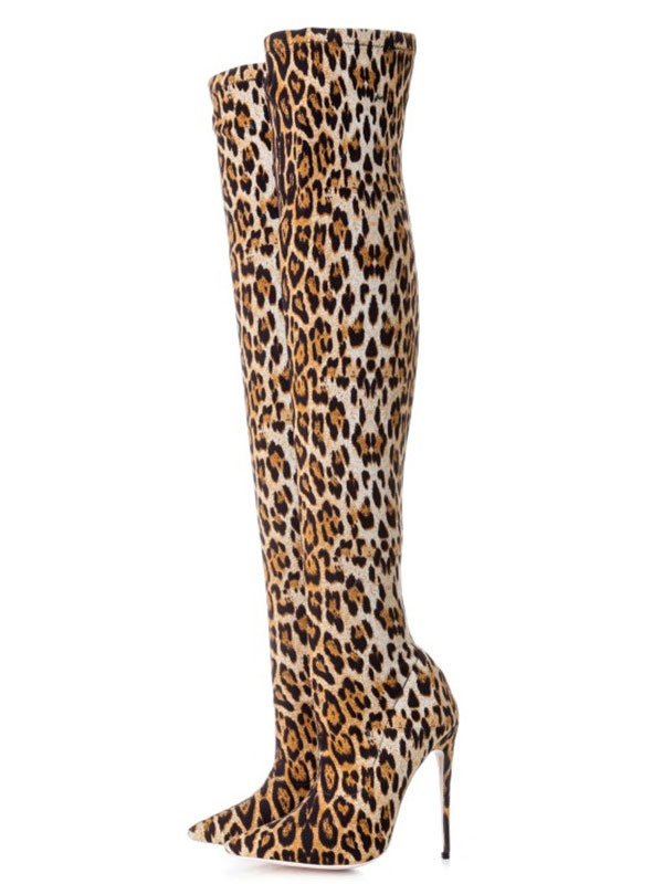 Buy Leopard Thigh High Boots Women Stretch Boots Pointed Toe Over The Knee Boots for $91.79 in Milanoo store