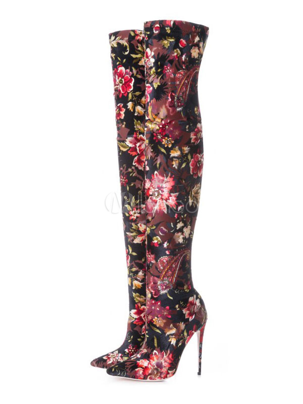 Buy Black Over Knee Boots Women Stretch Boots Pointed Toe Floral Jacquard High Heel Thigh High Boots for $91.79 in Milanoo store