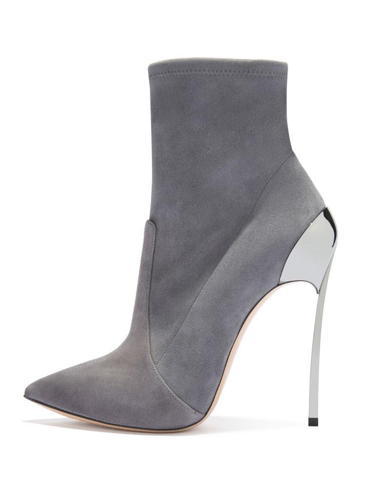 choisir véritable meilleure valeur extrêmement unique Bottes Femmes Talon Haut 2019 Gris Chaussures Suédé Bout Pointu Talon  Aiguille Bouttines Courtes