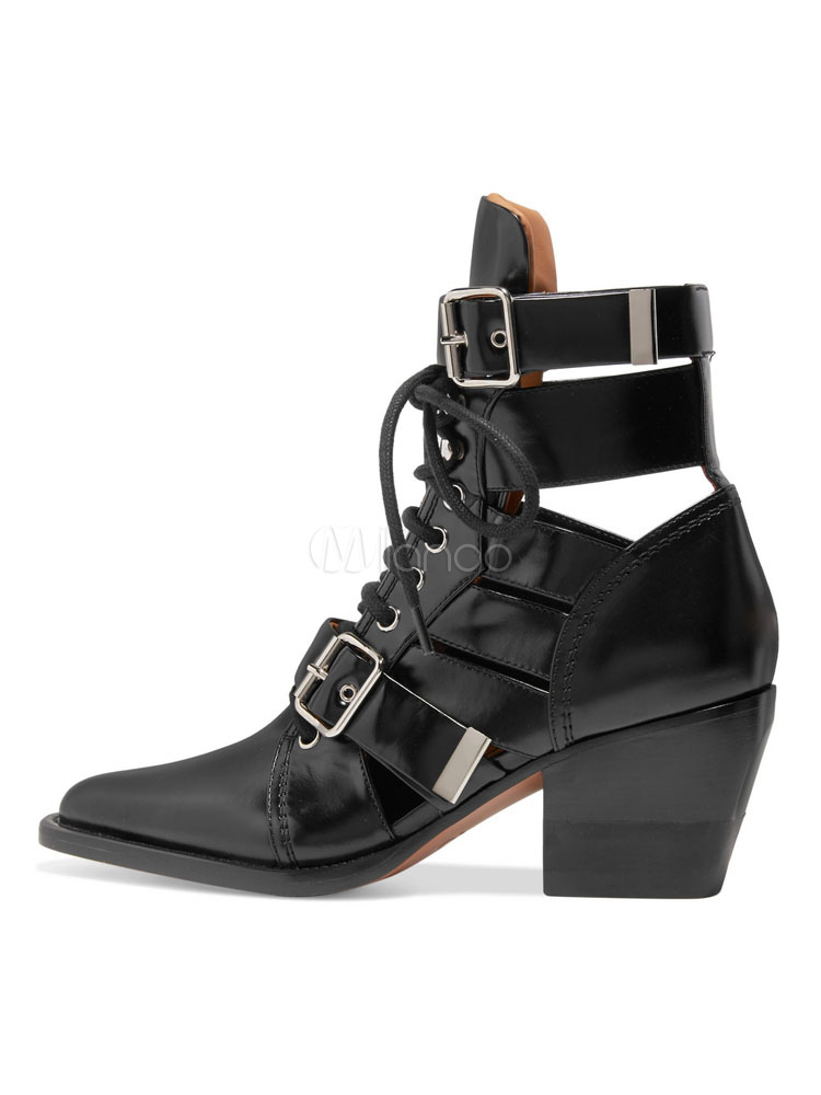 Women Ankle Boots Leather Pointed Toe