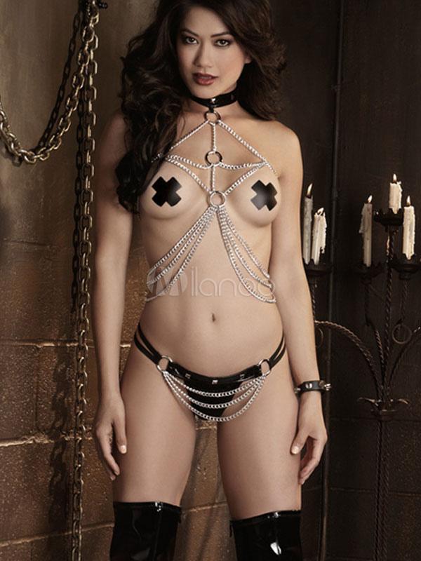 Body Harness Women Bondage Set Faux Leather Chains BDSM Fetish Slave Game  Tools Sex Toys Halloween ...