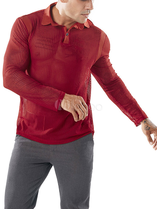Hommes Slim Shirt De Transparent Longue Tulle Manche 2019 Sexy Tenue Club Polo T Noir edxBorCW