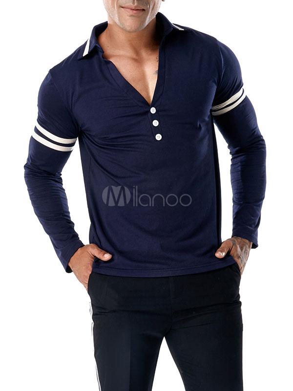 04baff6011 Camiseta de manga larga con estampado de botones Stipe Camiseta ajustada  azul marino con corte slim ...