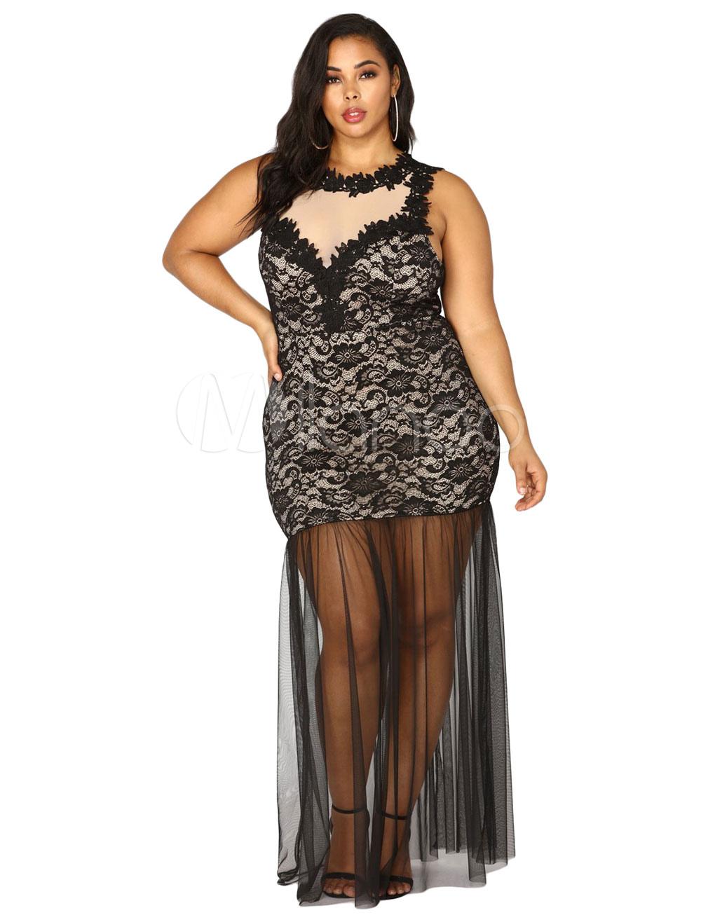 Plus Size Club Dress Black Maxi Dress Lace Semi Sheer Shaping Clubwear