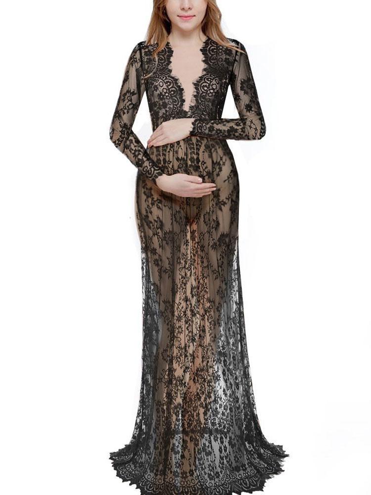 Maxikleid Lange Ärmel Langes Kleid V Ausschnitt Spitze Weiß lichtdurchlässig Party Kleid
