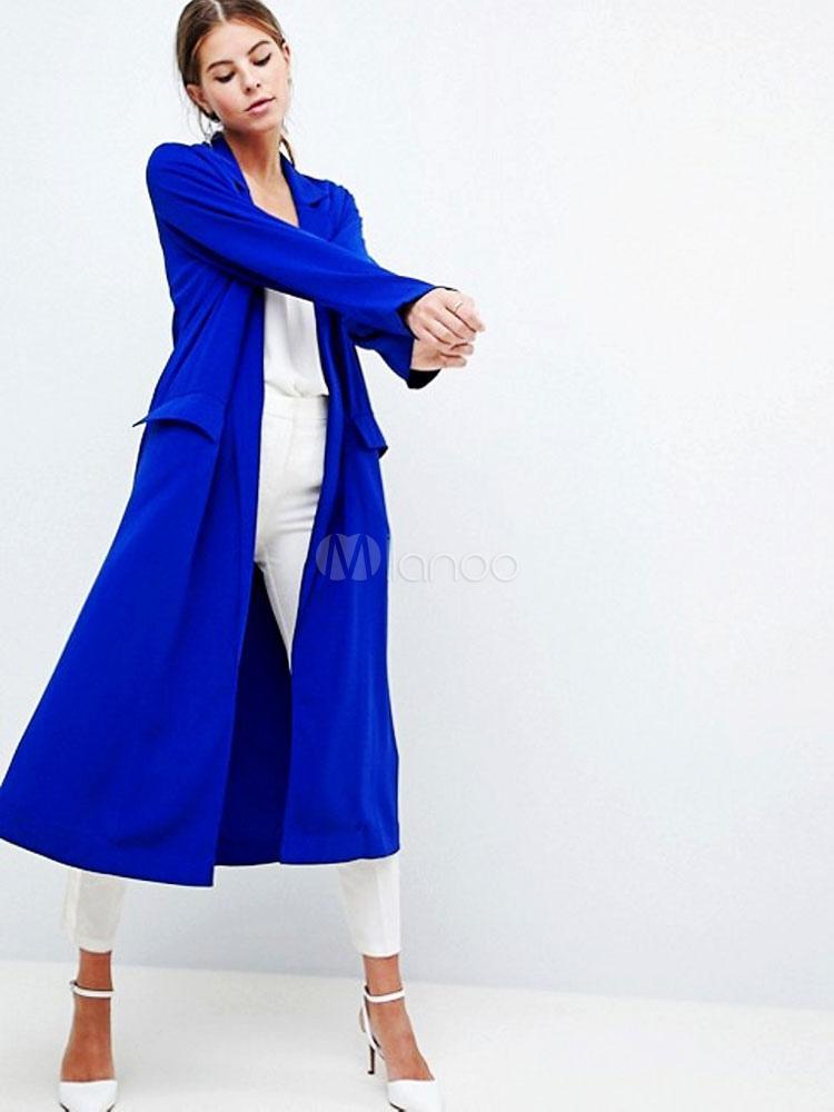 Veste longue femme bleu roi