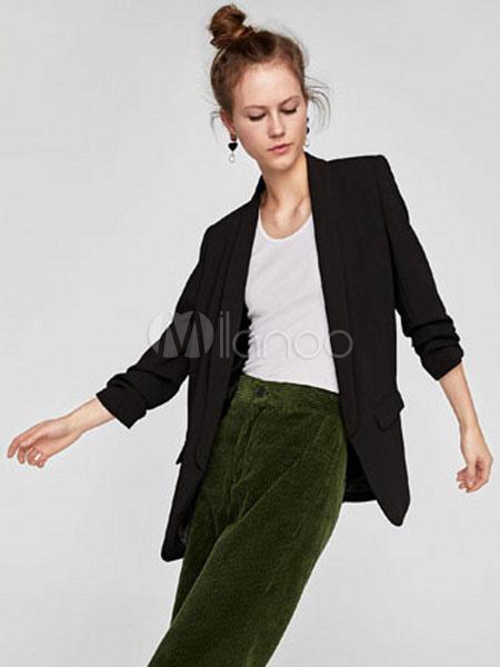 la mejor moda clásico comprar Black Blazer Jacket Pockets Three Quarter Sleeve Tuxedo Casual Blazer For  Women