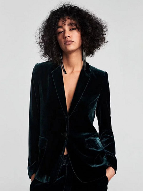 Velvet Blazer Jacket Long Sleeve Buttons Women Casual Blazer Fall Jacket - Milanoo