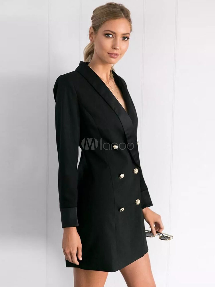 d841c2cada9 ... Blazer Femmes 2019Noir Long Blazer Veste Double Boutonnage Boutons  Tuxedo Robe Femmes-No.2 ...