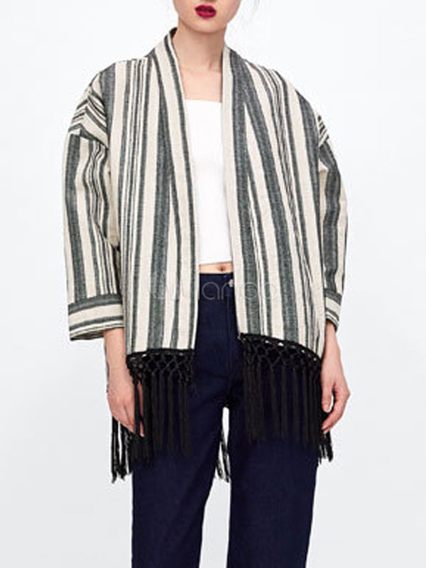 7c8508a2d7203 Women Kimono Jacket Stripe Fringe Linen Three Quaarter Sleeve Cardigan  Jacket-No.1 ...