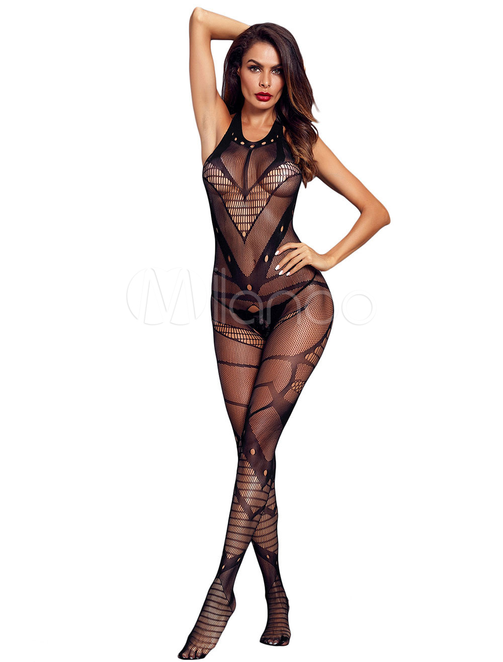 71fa350a2 Black Sexy Bodystocking Crotchless Stretchy Sheer See Through ...