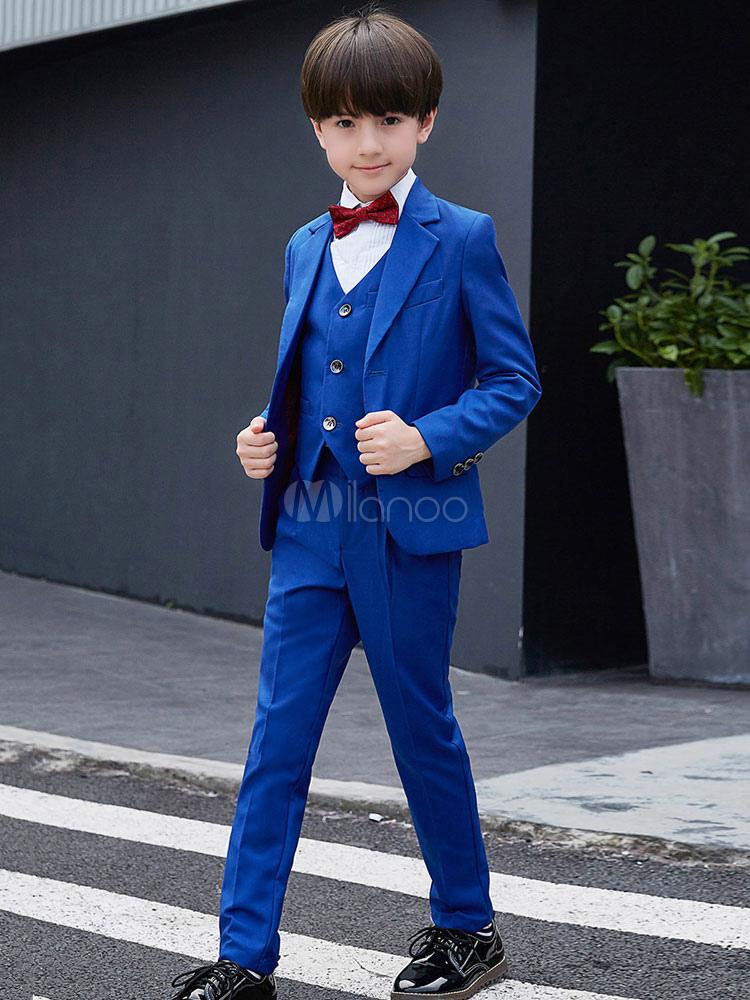 5c3a8b363a9b3 リングベアラー衣装ロイヤルブルーウェディングタキシードボーイズスーツ子供フォーマルウエア5ピース-No ...