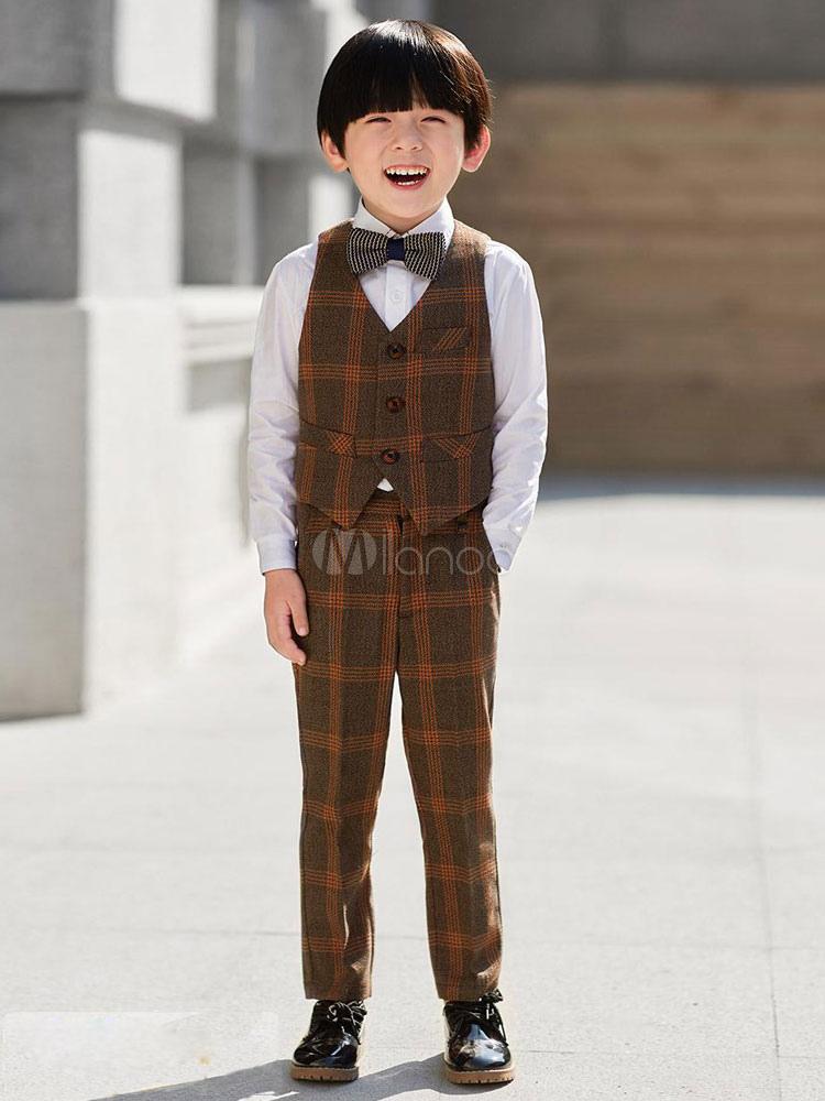 808cf1b01bfd2 ... リングベアラー衣装ウェディングタキシードボーイズスーツのチェック柄の子供フォーマルウエア5ピース ...