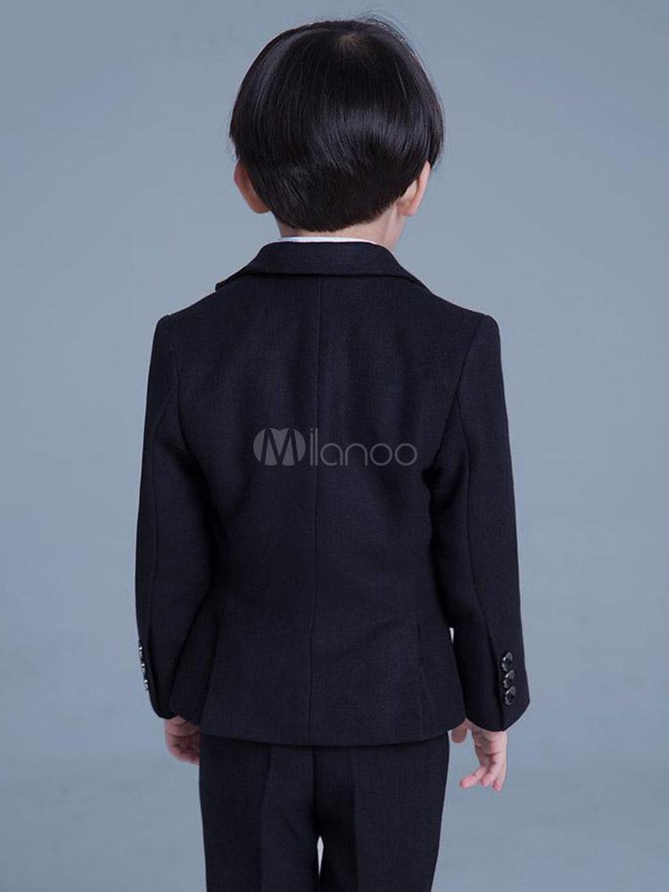 14a5be22a6f7a ブラックリングベアラー衣装ウェディングタキシードボーイズスーツ子供フォーマルウエア5ピース-No.