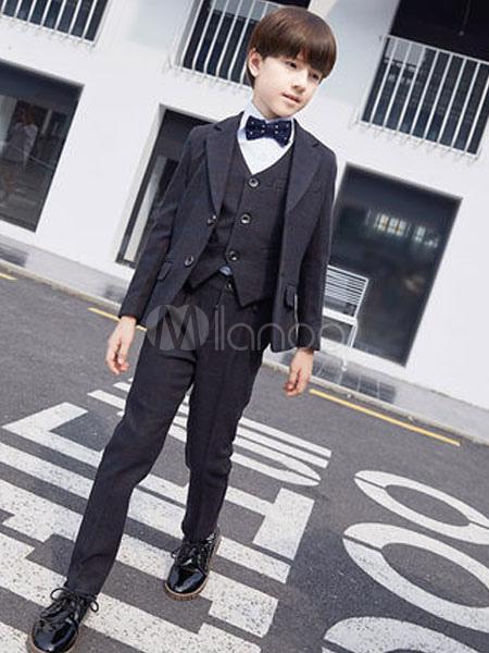 8c72d251c8990 リングベアラー衣装ウェディングタキシードボーイズスーツブラック子供フォーマルウエア5ピース-No.
