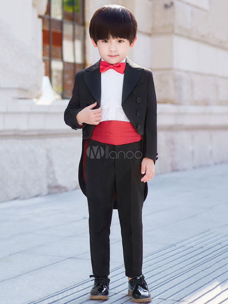 34433be4d Ring Bearer Outfit Black Boys Suits Wedding Kids Formal Wear 5 Piece-No.1  ...