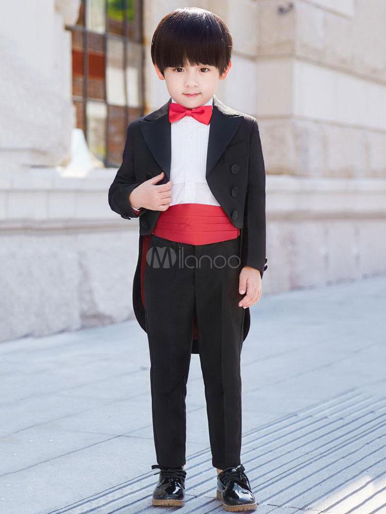 0c404d75ad9ef リングベアラー衣装ブラックボーイズスーツウェディング子供フォーマルウエア5ピース-No.1 ...