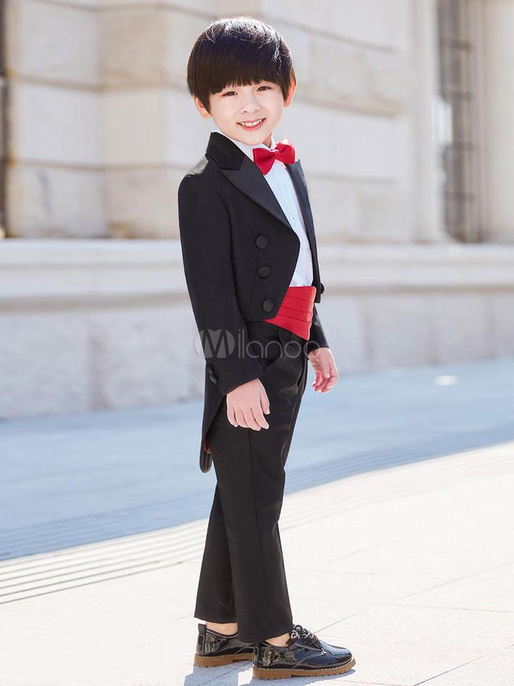 af48aeb35b4f7 ... リングベアラー衣装ブラックボーイズスーツウェディング子供フォーマルウエア5ピース-No.2 ...