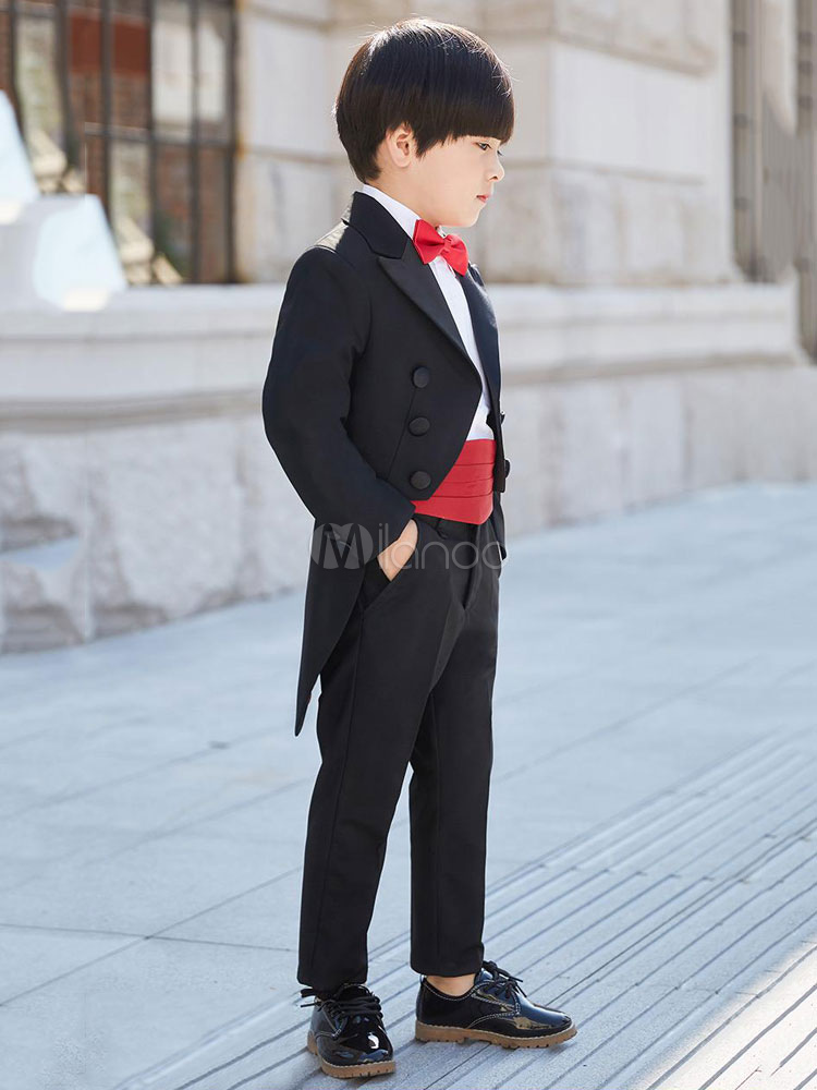 031709c04 Ring Bearer Outfit Black Boys Suits Wedding Kids Formal Wear 5 Piece ...