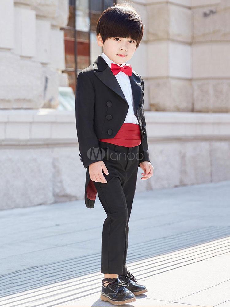 bd7e9fd63a8a5 ... リングベアラー衣装ブラックボーイズスーツウェディング子供フォーマルウエア5ピース-No.5 ...
