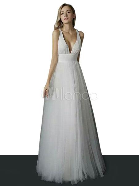 Robe longue blanche Robe de soirée en tulle Robe d été décolletée ... a64ba6b8b202