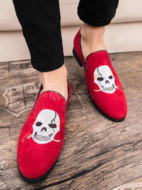 6ee340a7fae6 ... Suede Black Loafers Men Round Toe Skull Embroidered Slip On Shoes-No.3  ...