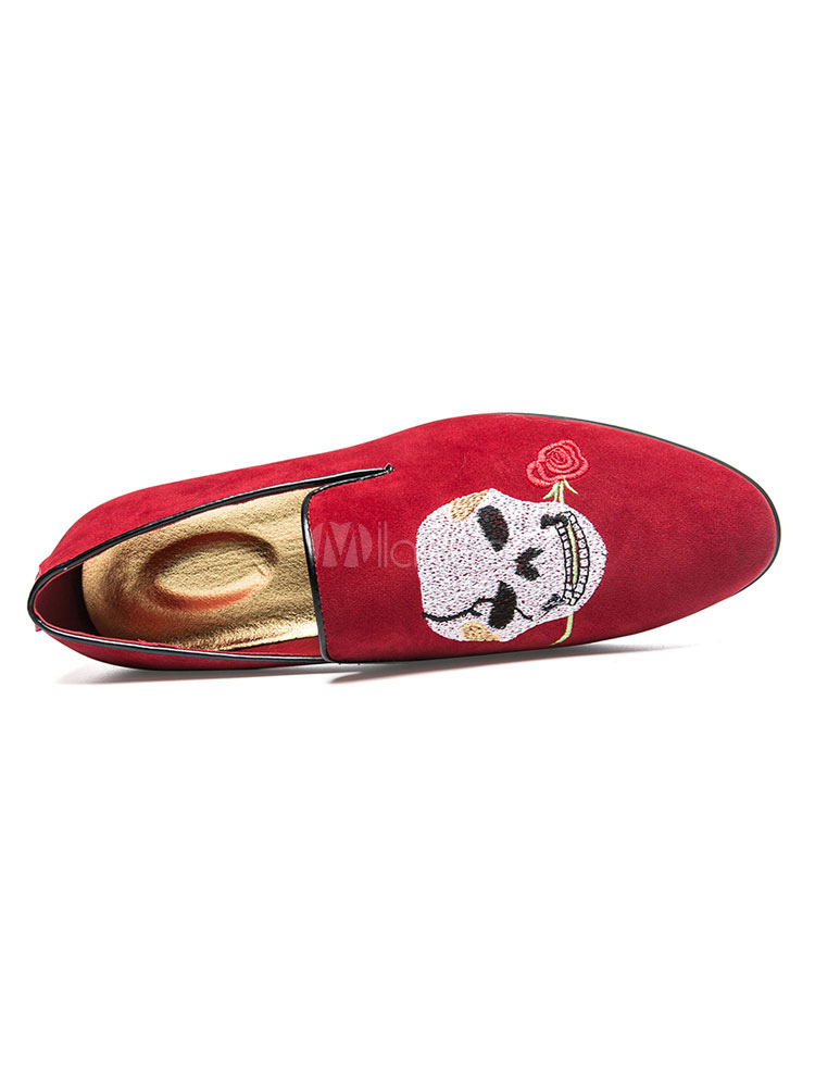 b5416fa2a0da ... Suede Black Loafers Men Round Toe Skull Embroidered Slip On Shoes-No.5  ...