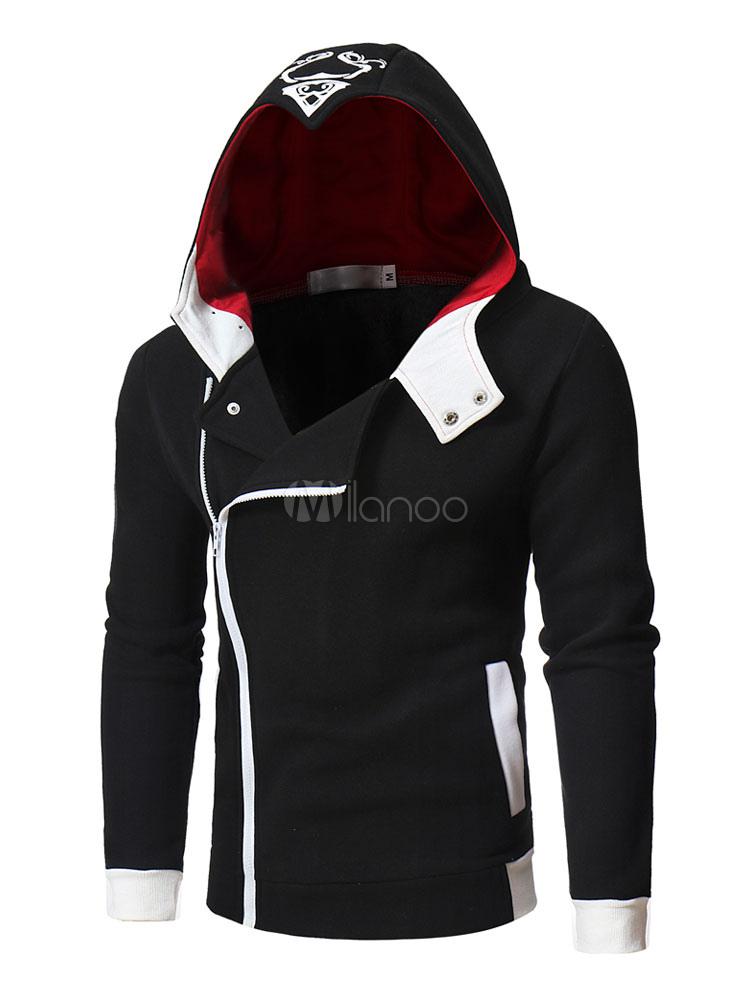 Long Sleeve Hoodie Surplice Zipper Metallic Buckle Hooded