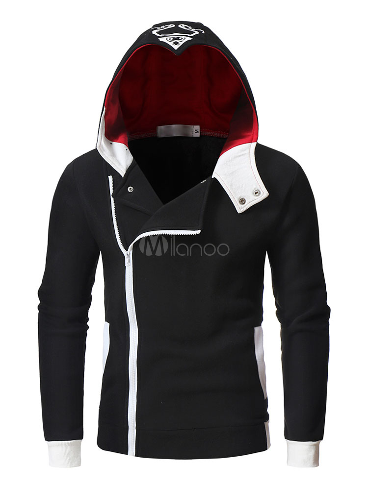 Long Sleeve Hoodie Surplice Zipper Metallic Buckle Hooded