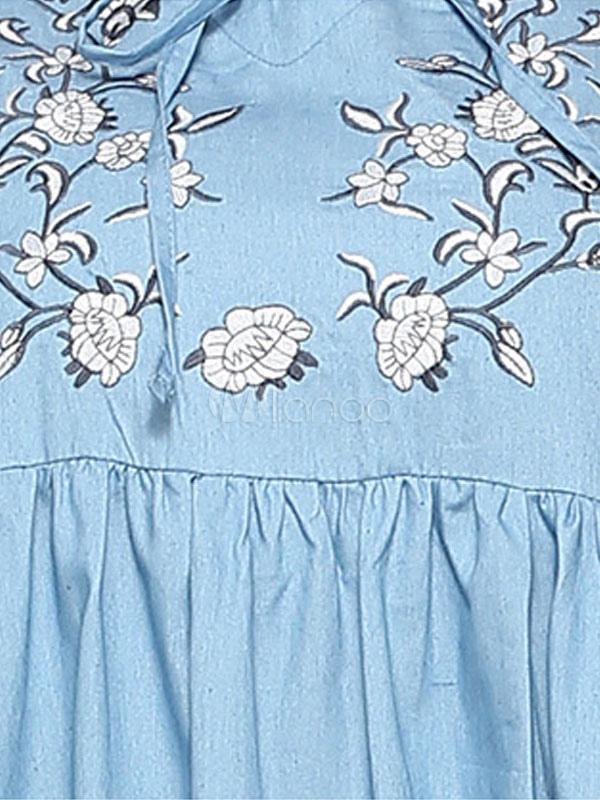 131f841d896b ... Abito blu Maxi Abito a maniche lunghe in cotone ricamato a fiori-No.4