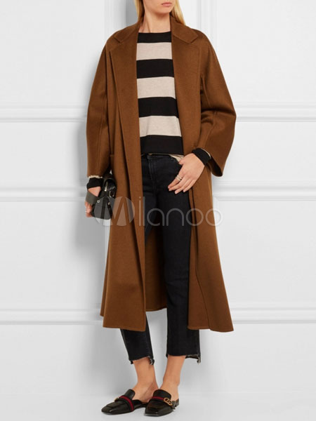 magasin en ligne e2580 ef289 Manteau femme en laine à manches longues Manteau portefeuille à capuche  Manteau d'hiver à col rabattu