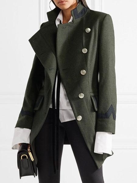 rencontrer 9dadd 668f1 Manteau femme hiver manteau en laine militaire boutons asymétriques avec  poches manches longues