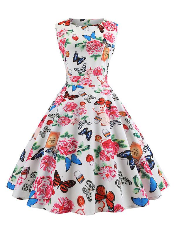 White Vintage Dress 1950s Retro Sleeveless Flower Butterfly Print Swing No1