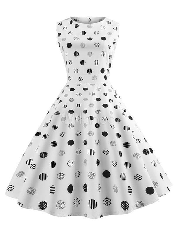 765351ee5af6 Vestido retro de lunares sin mangas blanco vintage vestido de la vendimia  de los años 50