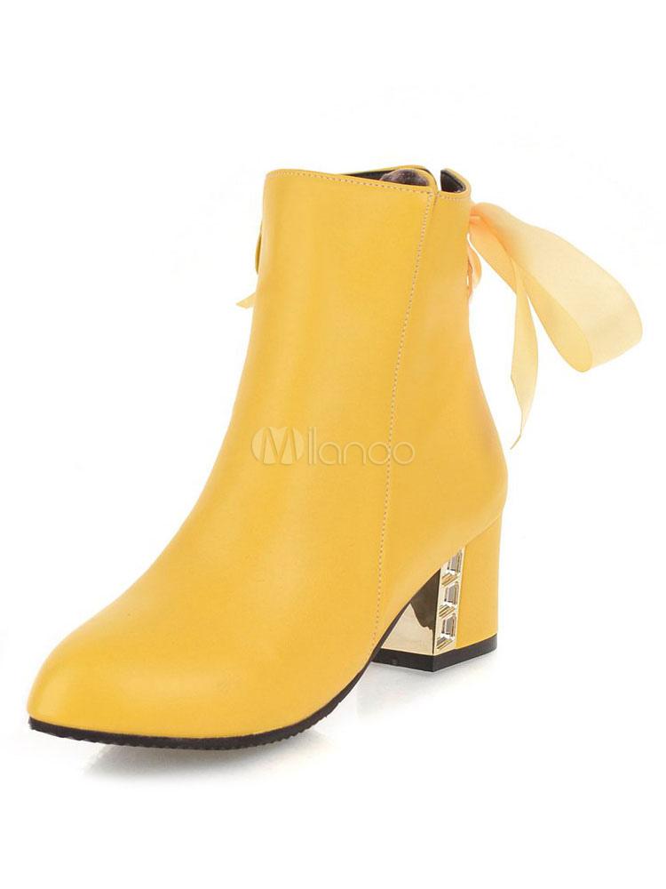 Botas Amarillas Punta Redonda Con Cordones Botines De Tacón Grueso De Mujeres