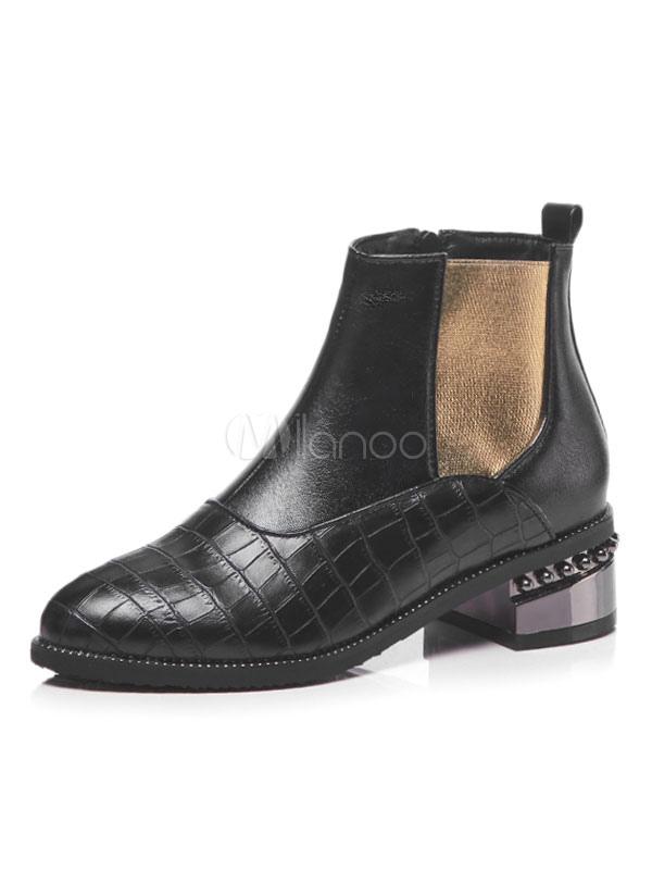 2019 rabatt verkauf heißer verkauf rabatt heißer verkauf rabatt Schwarz Chelsea Boots Damen Runde Zehe Nieten Plaid Ankle Boots