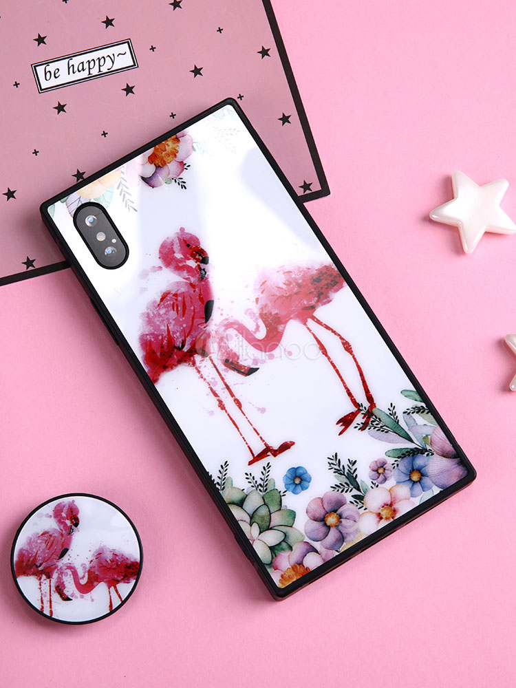 quality design 2a09b c550b Soft Phone Bumper Flamingo Floral Print Dust Proof Shatter Resistant TPU  Protective IPhone X Case With Popsocket
