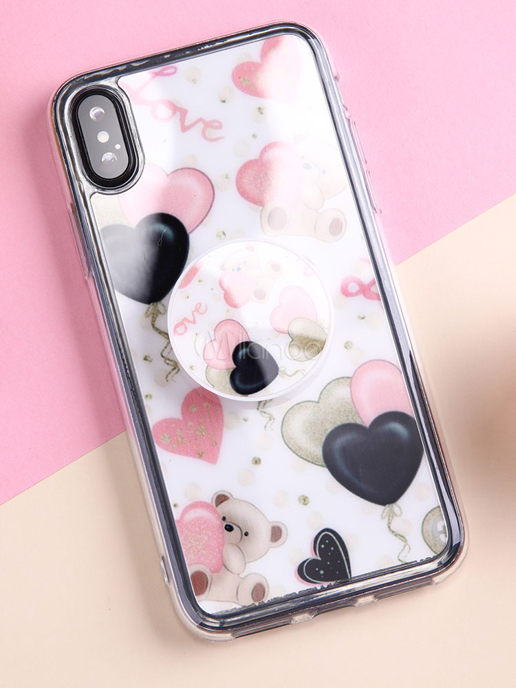 competitive price 8b29c 9b1bd Protective IPhone X Bumper Sweetheart Bear Print Stain Proof Scratch  Resistant TPU Phone Case With Popsocket