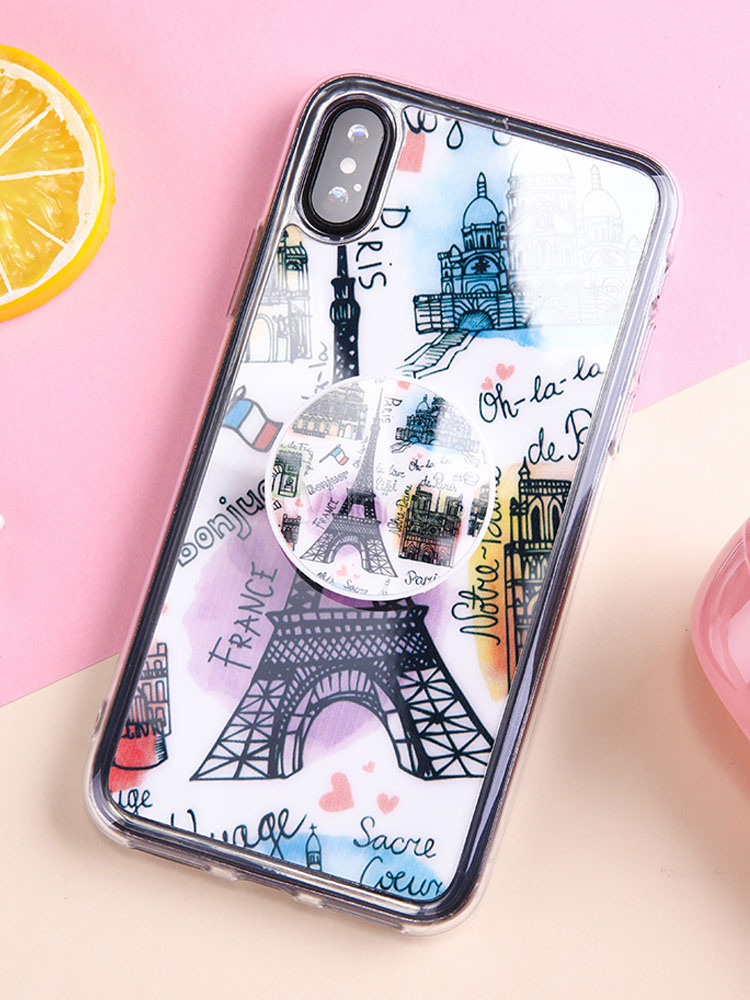 d82cf507b4 TPU Phone Case Eiffel Tower Puncture Resistant Anti Slip Popsocket IPhone X  IPhone 8 Plus Phone ...